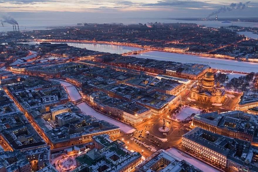 Зимний Санкт-Петербург вид сверху