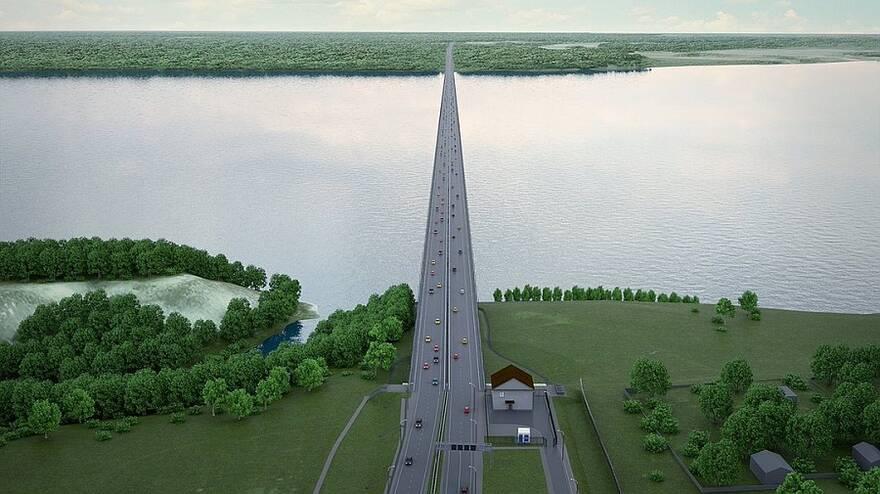 Проект моста через Волгу вблизи села Климовка в Самарской области