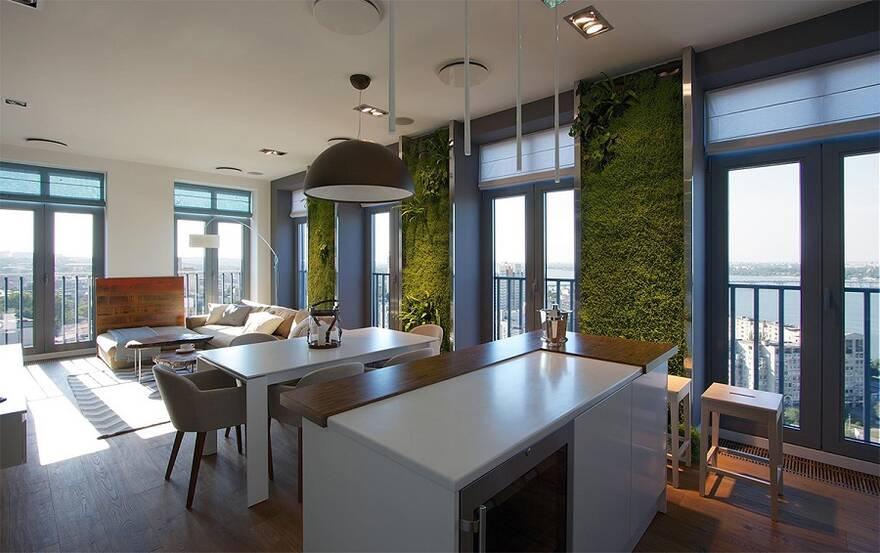 Интерьер кухни-гостиной с вертикальным озеленением