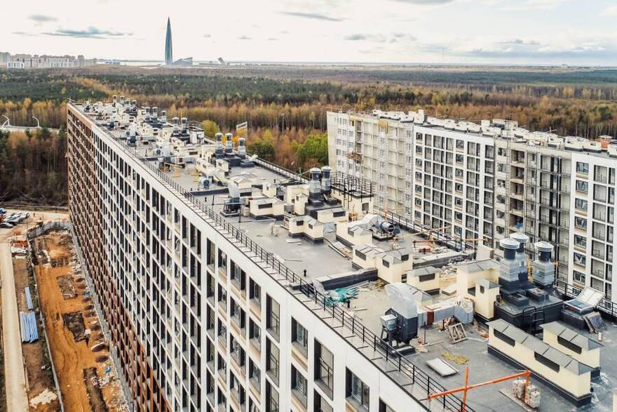 Строящийся жилой комплекс в Приморском районе Санкт-Петербурга