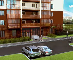 Жилой комплекс «Миллениум»: вид на парадную и паркинг (визуализация)