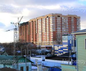 ЖК «Князь Голицын»: 17.02.2016 - Общий вид новостройки. Восточное крыло дома заселяется, западное находится на стадии отделочных работ