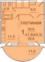 ЖК «Усово парк», планировка 1-комнатной квартиры, 45.30 м²