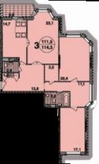 ЖК «Обыкновенное чудо», планировка 3-комнатной квартиры, 114.30 м²