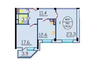 ЖК «Дом на Октябрьском проезде 18/2», планировка 2-комнатной квартиры, 70.40 м²