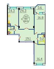 ЖК «Дом на Октябрьском проезде 18/2», планировка 3-комнатной квартиры, 102.30 м²