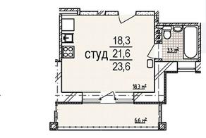 МЖК «Рузская сказка», планировка студии, 21.60 м²