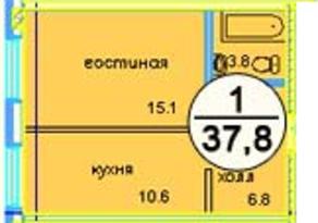 ЖК «Дом у ручья», планировка 1-комнатной квартиры, 38.70 м²