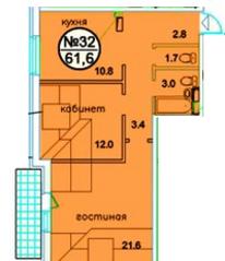 ЖК «Дом у ручья», планировка 2-комнатной квартиры, 61.60 м²