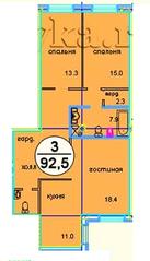 ЖК «Дом у ручья», планировка 3-комнатной квартиры, 92.50 м²