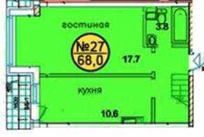 ЖК «Дом у ручья», планировка 1-комнатной квартиры, 68.00 м²