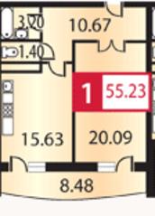 ЖК «Каширский», планировка 1-комнатной квартиры, 55.23 м²