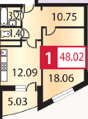 ЖК «Каширский», планировка 1-комнатной квартиры, 48.02 м²