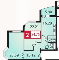 ЖК «Каширский», планировка 2-комнатной квартиры, 84.75 м²
