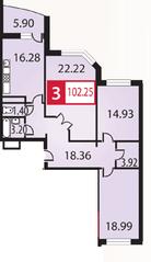 ЖК «Каширский», планировка 3-комнатной квартиры, 102.25 м²