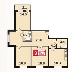 ЖК «Каширский», планировка 3-комнатной квартиры, 107.90 м²
