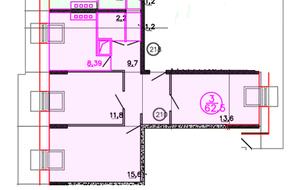 ЖК «Олимп» (Клин), планировка 3-комнатной квартиры, 62.50 м²