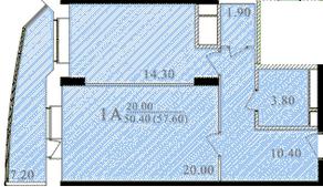 ЖК «Таисия», планировка 1-комнатной квартиры, 57.50 м²