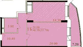 ЖК «Таисия», планировка 1-комнатной квартиры, 56.60 м²