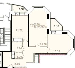 ЖК «Таисия», планировка 2-комнатной квартиры, 70.60 м²