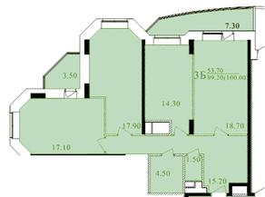 ЖК «Таисия», планировка 3-комнатной квартиры, 98.00 м²