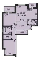 ЖК «Весна на Балтийском», планировка 3-комнатной квартиры, 124.50 м²