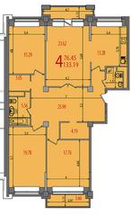 ЖК «Весна на Балтийском», планировка 4-комнатной квартиры, 135.40 м²