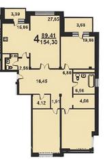 ЖК «Весна на Балтийском», планировка 4-комнатной квартиры, 156.30 м²