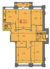 ЖК «Весна на Балтийском», планировка 4-комнатной квартиры, 133.80 м²