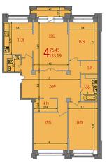 ЖК «Весна на Балтийском», планировка 4-комнатной квартиры, 135.10 м²