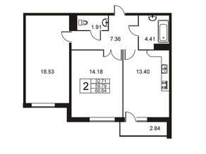 ЖК «Оптимист», планировка 2-комнатной квартиры, 60.60 м²