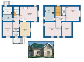 КП «Незабудкино», планировка 5-комнатной квартиры, 160.00 м²