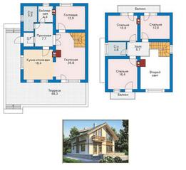 КП «Караськина охота», планировка 5-комнатной квартиры, 120.00 м²