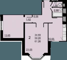 ЖК «в Одинцово», планировка 2-комнатной квартиры, 61.26 м²