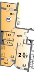 ЖК «Чертановский», планировка 2-комнатной квартиры, 72.20 м²