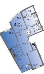 ЖК «Чертановский», планировка 4-комнатной квартиры, 118.73 м²