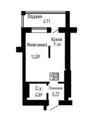 ЖК «Золотые пески», планировка студии, 24.99 м²