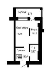 ЖК «Золотые пески», планировка студии, 24.51 м²