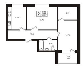ЖК «Золотые пески», планировка 2-комнатной квартиры, 62.51 м²