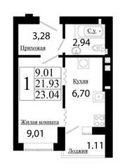 ЖК «Лето», планировка студии, 21.93 м²