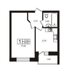 ЖК «Лето», планировка 1-комнатной квартиры, 33.80 м²