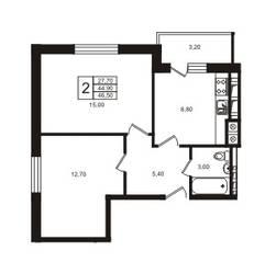 ЖК «Лето», планировка 1-комнатной квартиры, 44.90 м²