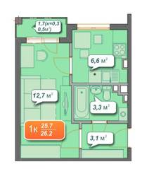 ЖК «Новое Голубево», планировка 1-комнатной квартиры, 25.70 м²