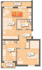 ЖК «Новое Голубево», планировка 2-комнатной квартиры, 48.10 м²