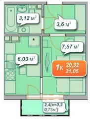 ЖК «Новое Голубево», планировка 1-комнатной квартиры, 21.05 м²