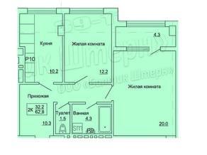 ЖК «на ул. Красносельской, 79», планировка 2-комнатной квартиры, 62.80 м²