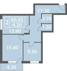 ЖК «Солнечный город» (Ленинградский район), планировка 2-комнатной квартиры, 60.50 м²