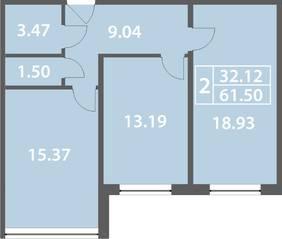 ЖК «Солнечный город» (Ленинградский район), планировка 2-комнатной квартиры, 61.50 м²