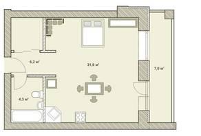 МФК «Яхонтовый лес», планировка 1-комнатной квартиры, 50.50 м²