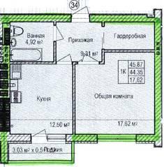 ЖК «Восток», планировка 1-комнатной квартиры, 45.87 м²